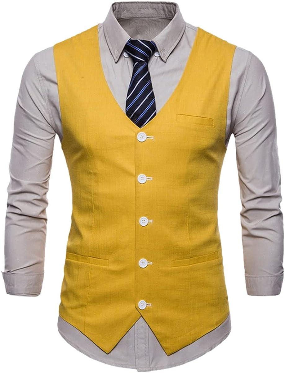 Men's Slim Single-breasted Suit Vest Formal Suit Business Wedding Vest Solid Color Vest