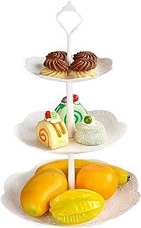 Czemo Soporte para Tartas de 2/3 Pisos, Bandeja de Tartas, Plato de Frutos Secos Plaza Apilada Fiesta Cupcake y Torre de Postre
