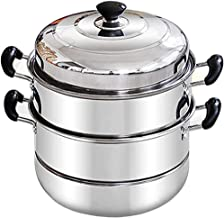 YYSM Stainless steel steamer three-layer thickening household induction cooker soup pot steaming grid steamer (Color : Met...