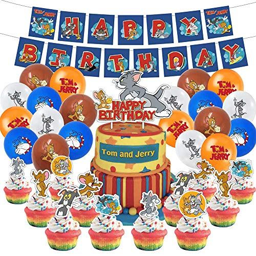 Tom and Jerry Birthday Party Decortions and Supplies for Boys and Girls Includes Birthday Banner, Balloons,Cupcake Toppers,Cake Topper Party Favors for Kids