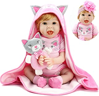 Aori Reborn Baby Dolls 22 Inch Handmade Realistic Baby Girl Dolls with Kitty Toy and Pink Hood Safety for Girls Age 3