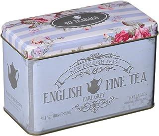 New English Teas - Earl Grey Tea 40 Tea Bags - English Fine Tea Vintage Tin