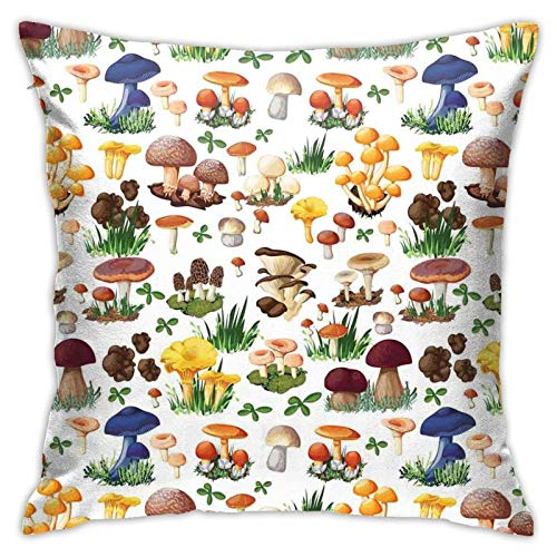 DHNKW Throw Pillow Case Cushion Cover,Pattern with Types of Mushrooms Wild Species Organic Natural Food Garden Theme ,18x18 Inches