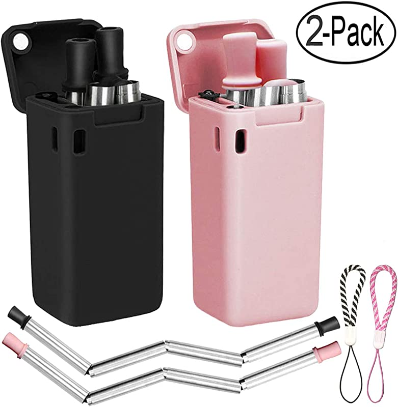 2 Pack Collapsible Reusable Straw Stainless Steel Foldable Drinking Straws Keychain Final Folding Premium Food Grade Portable Set With Hard Case Cleaning Brush Black Pink