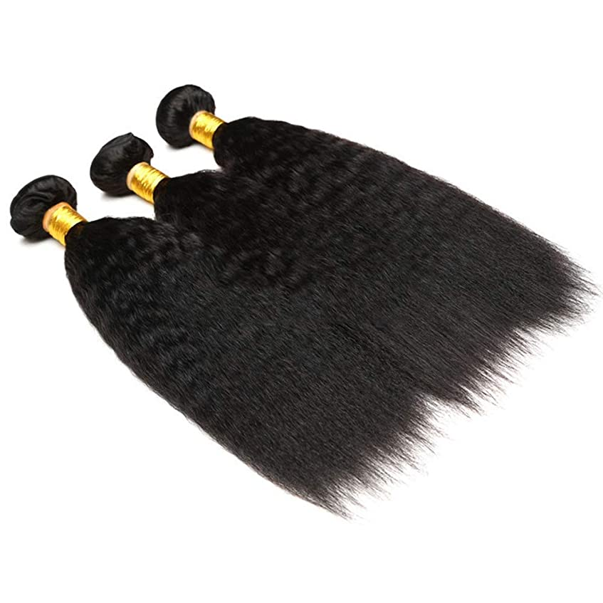 ブルサイレン慢なHOHYLLYA ブラジルの本物の人間の髪の毛の束焼きストレートヘア1バンドルナチュラルカラー織り7Aグレードファッションウィッグ(10インチ-26インチ)パーティーウィッグ (色 : 黒, サイズ : 10 inch)
