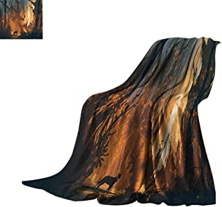 Luckyee Throw Blanket Mystic House Decor,Lost Dog in Illuminated Forest Mystical Lights Over Trees Adventure Spooky Decor,Orange Brown Print Artwork Bed or Couch 60