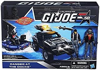 G.I. Joe 50th Anniversary Danger at the Docks Toys R Us Exclusive with Cobra Night Raft, VAMP Mark II Attack Vehicle (Grey & Black Camo Version), Flint & Cobra Eel Action Figures