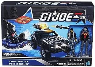 G.I. Joe 50th Anniversary Danger at the Docks Toys R Us Exclusive with Cobra Night Raft, VAMP Mark II Attack Vehicle (Grey & Black Camo Version), Flint & Cobra Eel Action Figures