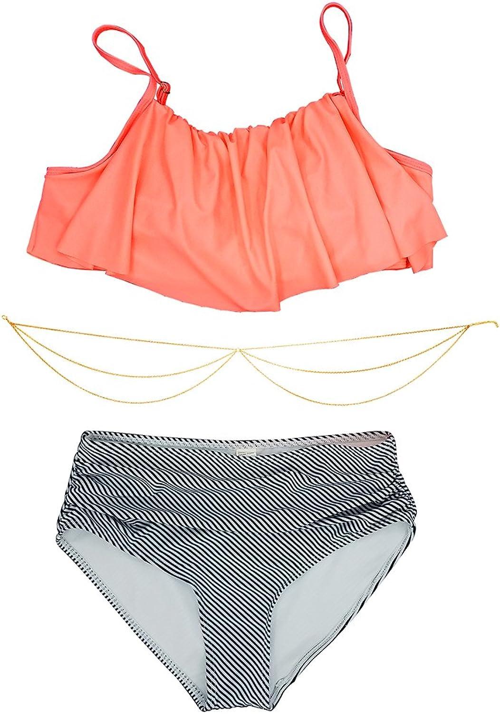 Ldoux Women High Waist Bikini Set Flounce Swimwear Bathing and Body Bikini Chain