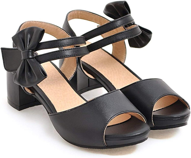 Black Pink Beige Ladies Summer shoes peep Toe Square Heel Casual Women high Heels Sandals