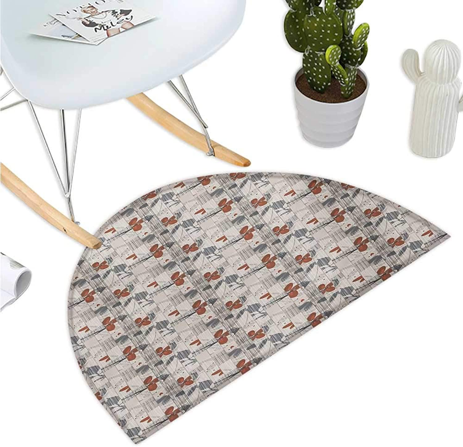 Abstract Semicircle Doormat Floral Composition with greenical Lines Romantic Blooming Spring Season Plants Entry Door Mat H 35.4  xD 53.1  Dark Taupe Ruby