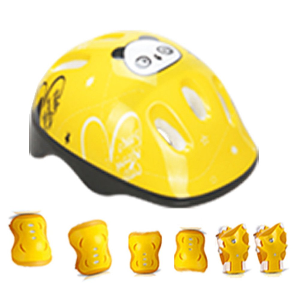 JVSISM 7 Pieces Kids Children Roller Skating Scooter Bicycle Helmet Knee Elbow Wrist Pad Guard Protective Gears Set Yellow Flame S