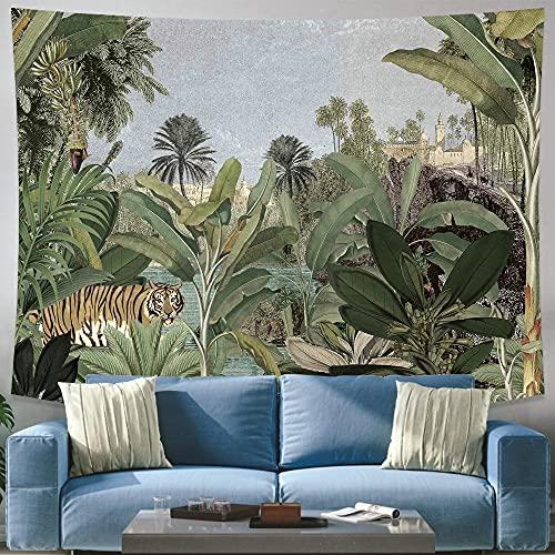 Tela para colgar con estampado de plantas tropicales, tapiz colgante de pared para el hogar nórdico, sala de estar, dormitorio, arte, tapiz para colgar en la pared A5 180X200CM
