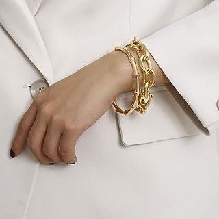 سوار سلسلة ذهبية من Denifery سوار وصلة ذهبية كوبية سوار ذهبي سحر سوار أساور مجوهرات للنساء الفتيات هدية (نمط 5)