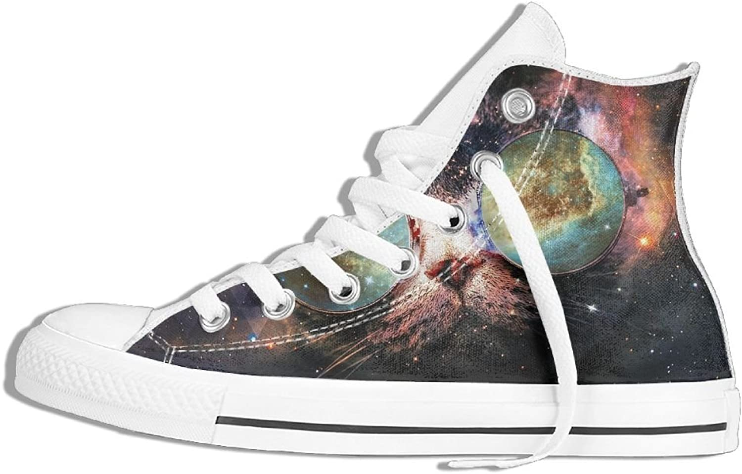 Unisex Hi-Top Canvas Sneakers Space Sunglasses Cat Round Toe Non-slip Sports Trainers shoes