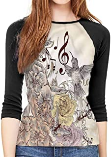 Hummingbirds Long Sleeve Tops Women Old Birds and Flowers Casual Polyster O Neck Sport T Shirt,
