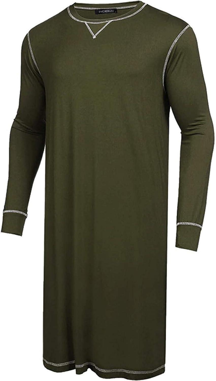Mens Leisure Sleep Robes Loose Nightgown Breathable Homewear Long Sleeve Round Neck Bathrobes S-5Xl
