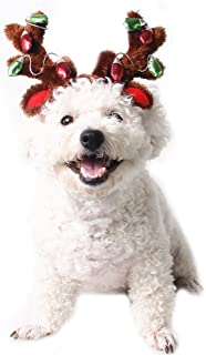 FLAdorepet Dog Elk Reindeer Antler Hat Cap Bling Dog Cat Pet Christmas Costume Outfits Small Dog Headwear Hair Grooming Accessories