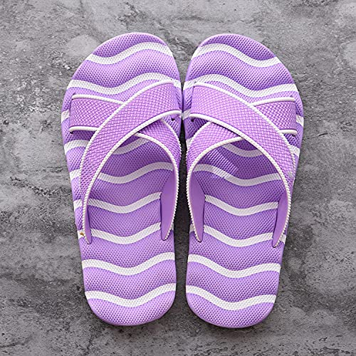 ZZLHHD Chanclas de Masaje,Leisure Beach Slippers Men, Breathable Comfortable Massage Slippers-Purple_40-41,Sandalias De Reflexología Terapéutica