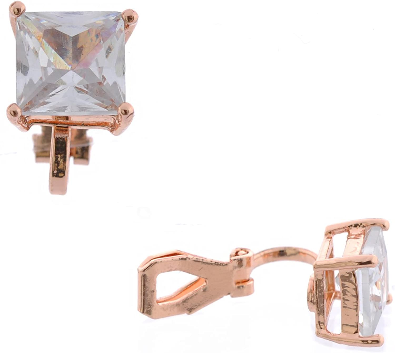 Topwholesalejewel Fashion Earrings Rose Gold Plating Cubic Zirconia Clip On Earrings