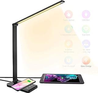 HyAdierTech Lampe de Bureau LED avec Chargeur Sans Fil, Lampe de Table Dimmable 10 Niveaux 5 Modes, Lampe de Chevet Tactil...