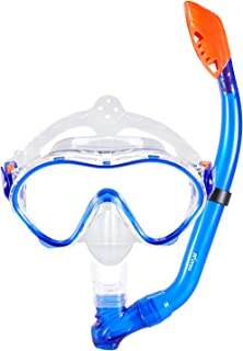 KUYOU Snorkel Set for Kids, Dry Top Snorkel Mask - Anti-Fog and Anti-Leak Easy Adjustable Snorkeling Gear for Children,  Boys & Girls, Juniors Freediving Gear Set Age 5.