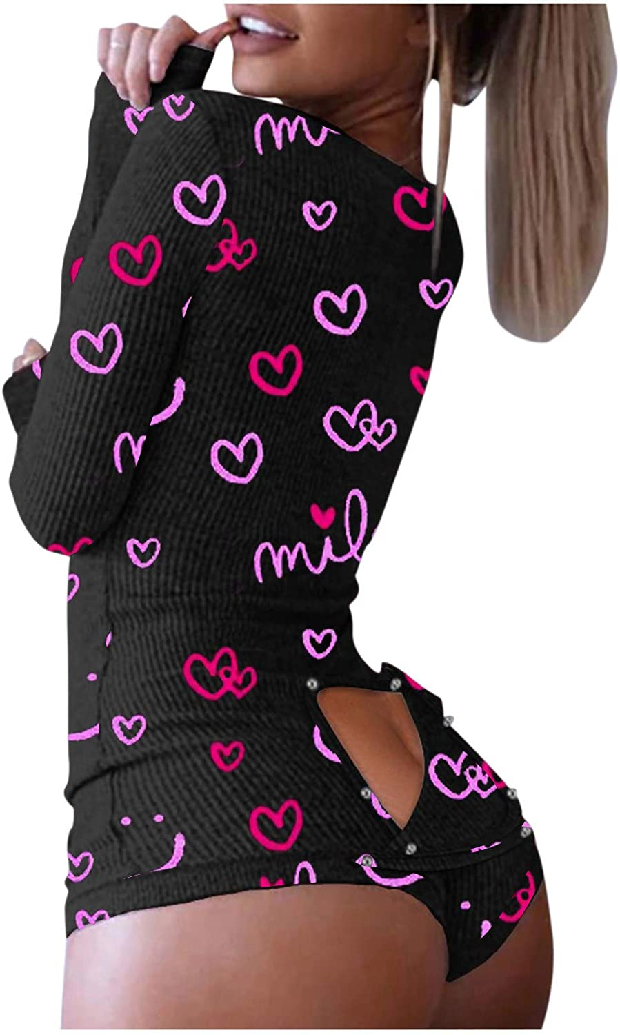 Women Jumpsuit Sexy,Womens Sexy V-Neck Long Sleeve One Piece Shorts Romper Bodysuit Funny Print with Drop Seat Butt Flap