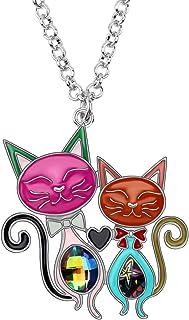 BONSNY Valentine's Day Enamel Rhinestone Couples Cat Necklaces Pendant Original Design for Women Jewelry