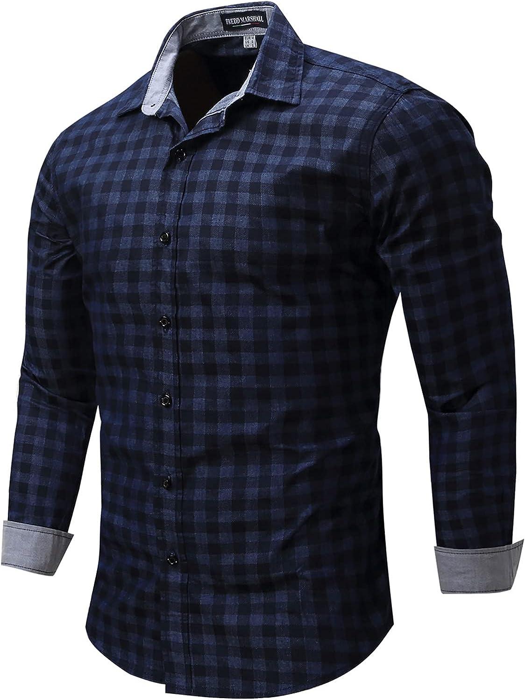 CofeeMO Bravetoshop Men's Button Down Shirt Long Sleeve Plaid Shirt Slim Fit Casual Dress Shirts