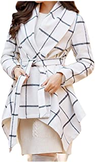 MogogN Women's Plaid Autumn Irregular Hem Stylish Coat Overcoat with Belt