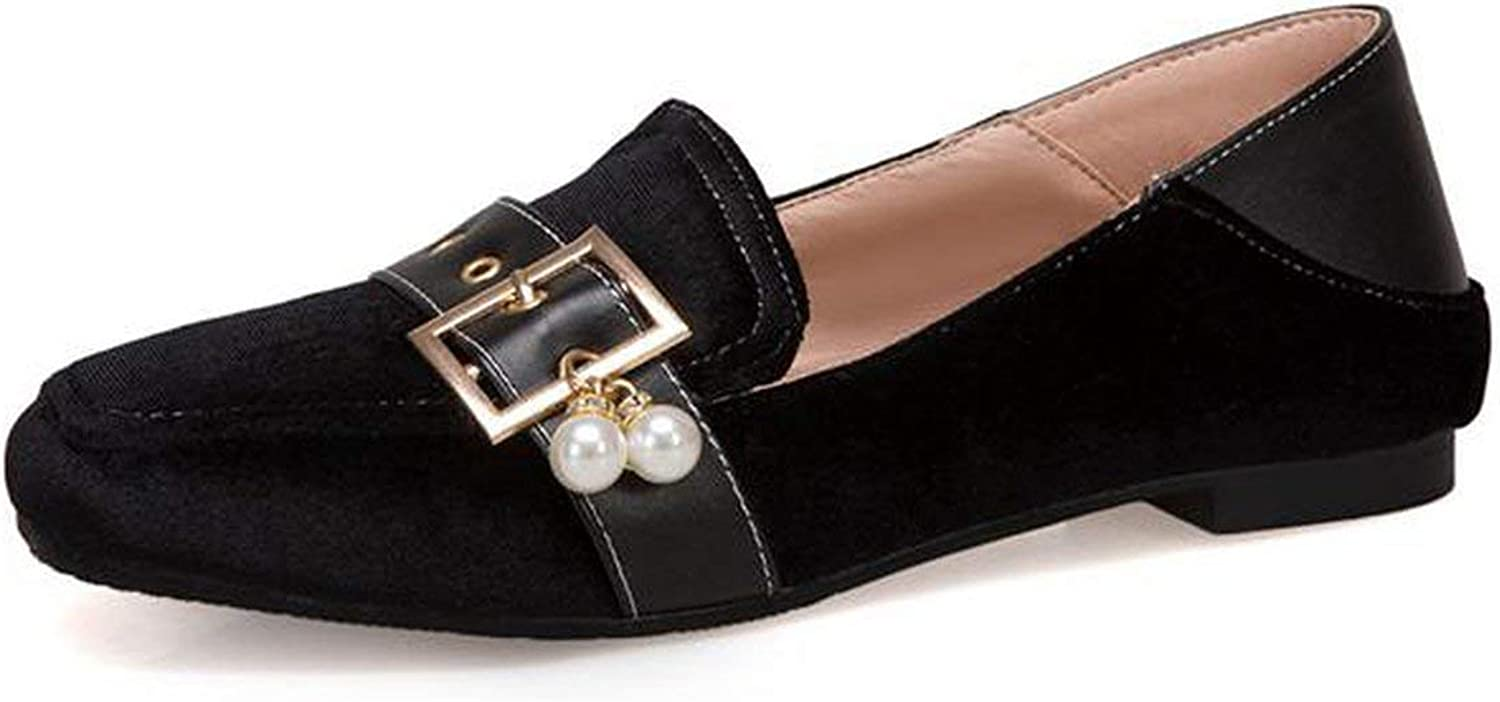 Spring Summer Women Flat shoes Pearl Suede Leather Casual Buckle shoes Office