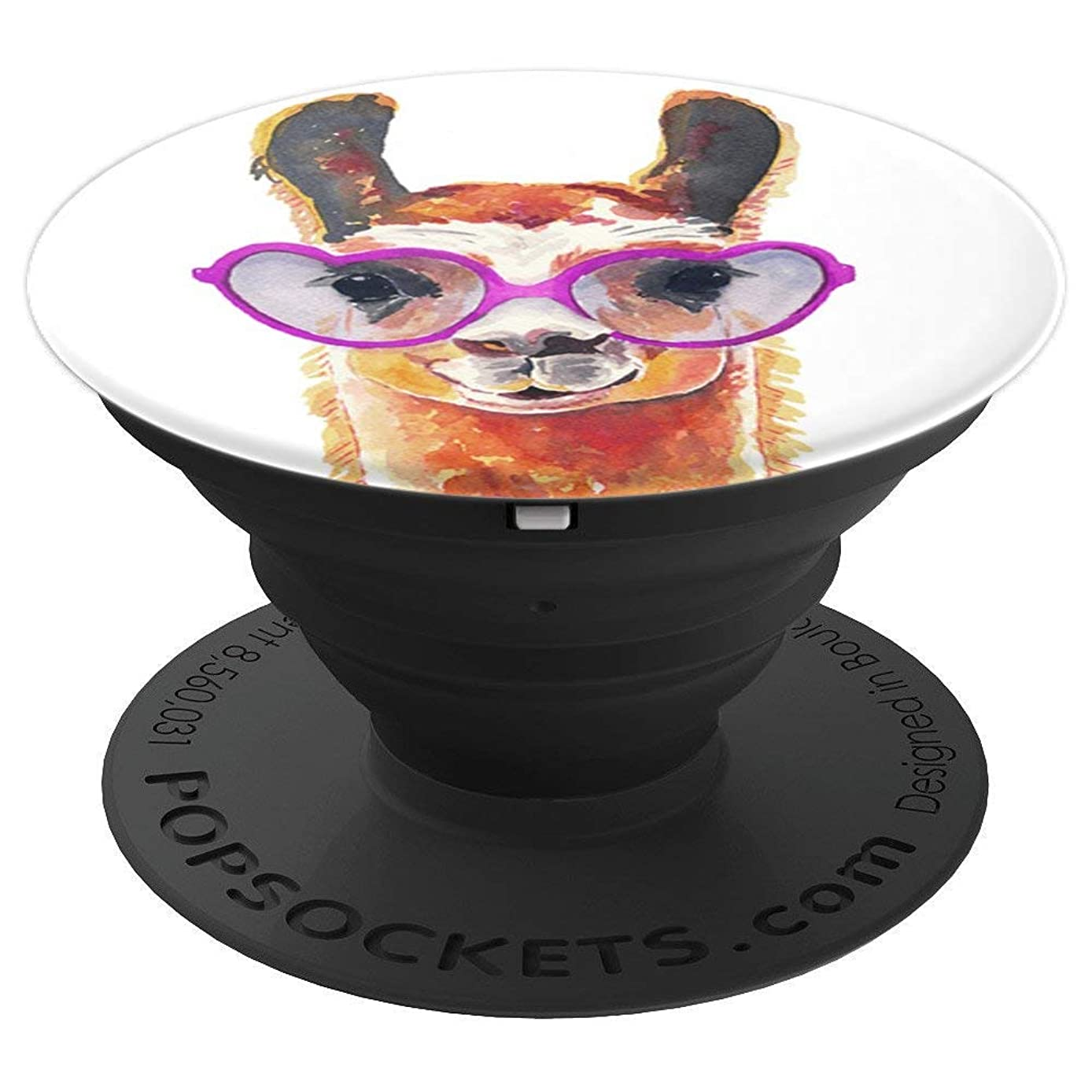 Cute Llama Design with Purple Heart Sunglasses on White - PopSockets Grip and Stand for Phones and Tablets