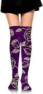 uytrgh, Mujeres Lady Girl Gold Rose Floral Flower Purple Knee High Fashion Botas cómodas Calcetines Algodón Athletic sobre la Rodilla Calcetines de Tubo Muslo Medias Altas para Grandes Regalos Hermoso 6716