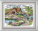 Joy Sunday Cross Stitch Kits 14CT Counted Dream House 16.93'x13.39' or 43cmx34cm Easy Patterns Embroidery for Girls Crafts DMC Cross-Stitch Supplies Needlework Scenery Series