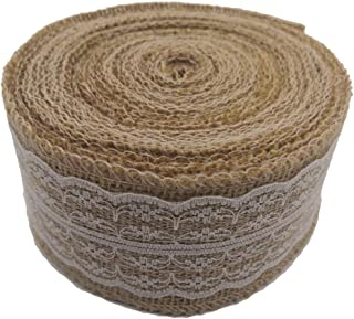Treehouse 393 Inch Natural Burlap Ribbon Roll with White Lace Trims, Burlap Ribbon with lace for Wedding Decoration DIY Ri...