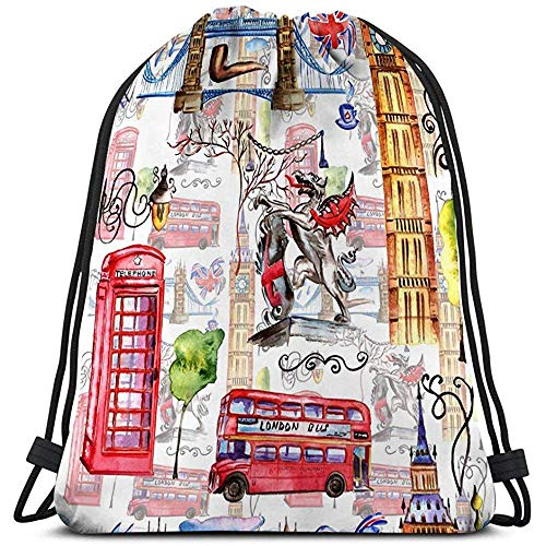 BOUIA Gym Reizen Trekkoord Tas aquarel london patroon grote britain hand getekende symbolen rode telefoon stand grote ben klok vlag helm Retro