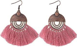 Copper Dangle Rainbow Super Long Statement Earrings w/Fancy Silk Thread Tassels 2 1/2