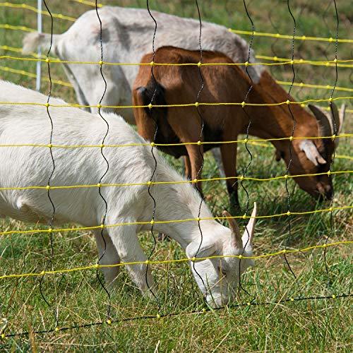 horizont Schafnetz - horinetz - Elektronetz gelb, schwarz, Höhe 120cm, Länge 50m, Doppelspitze 14 Pfähle, Schafzaun, Weidezaun, Elektrozaun, Ziegenzaun - perfekt für den Schutz Ihrer Schafe