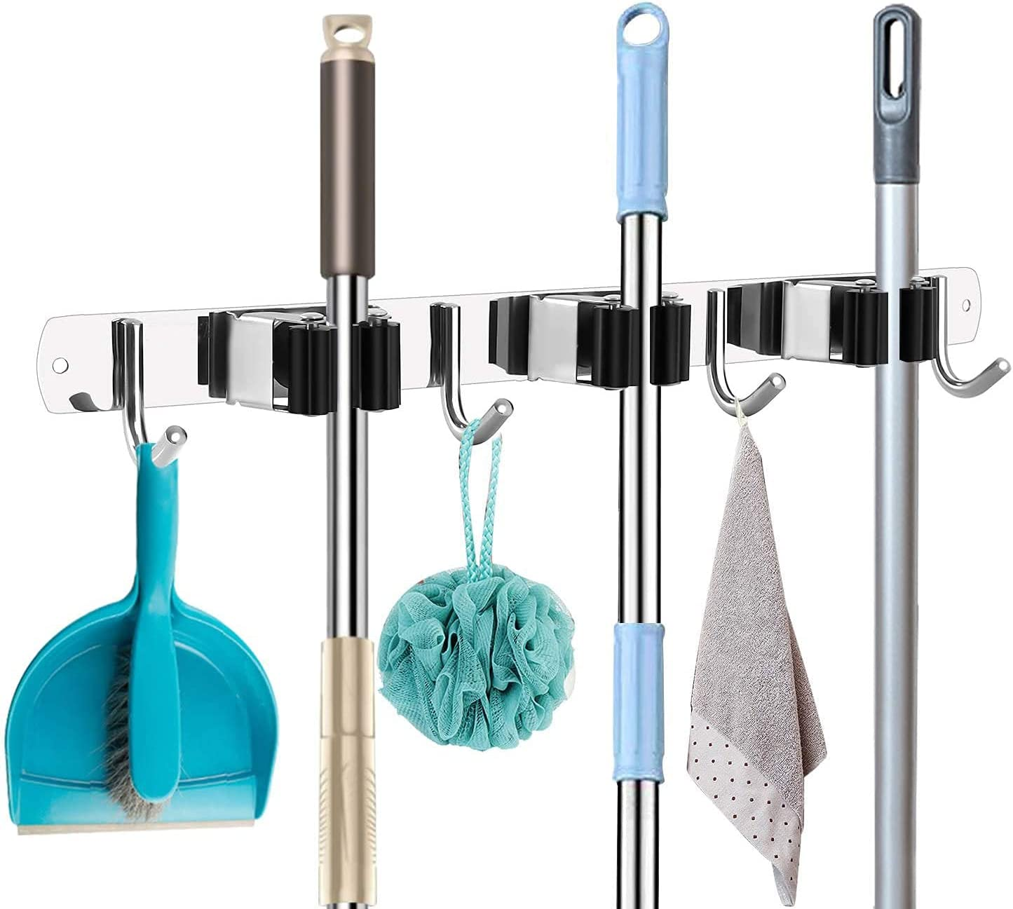Mop Broom specialty shop Holder Heavy Duty Hooks Hanger Discount mail order Wall Mounted Stainless