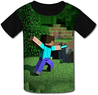 QIANBAIHUI Kids Youth Minecraft-Tablet 3D Printed Short Sleeve T Shirt Tee