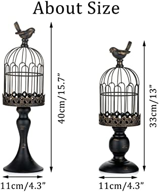 Sziqiqi Vintage Bird Cage Decorative Candle Lantern Set of 2 Decorative Pedestal Candle Holders for Pillar Candle for Tableto