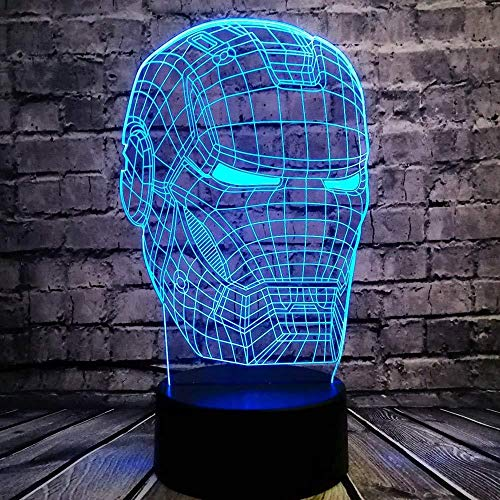 Nachtlampje 3D slaaplamp lamp man masker LED nachtlampje superheld filmfiguur noviteit illusie creatieve kinderen Toy Boy USB-cadeau
