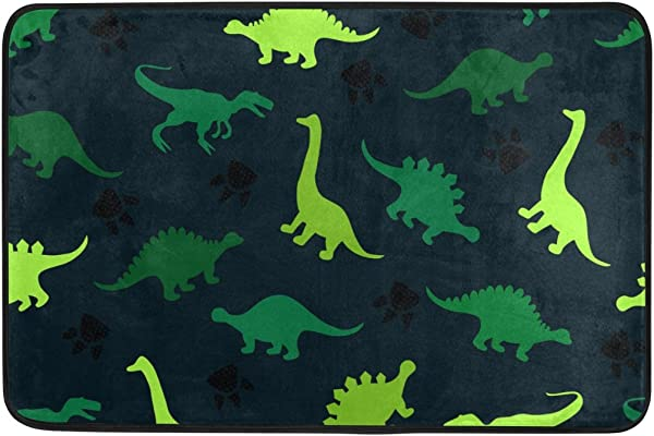 INGBAGS JSTEL Colorful Dinosaurs On The Abstract Doormat Indoor Outdoor Washable Garden Office Door Mat Kitchen Dining Living Hallway Bathroom Pet Entry Rugs With Non Slip Backing
