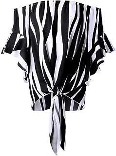 WSJTT Women's Short Sleeve High Low Loose T Shirt Basic Tee Tops Women Blouse Womens Striped Off Shoulder 3/4 Bell Sleeve ...