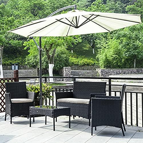 bigzzia Gartenmöbel Set Rattan, Lounge Gartenmöbel Set Polyrattan Balkonmöbel Kleiner Balkon Wetterfest Sitzlounge Für 4-5 Personen