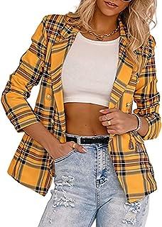 Winkinlin Women's Solid Color Blazers Long Sleeve Vintage Open Front Slim Fit Loose Office Jacket