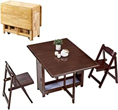 CHICAI 1.45M Solid Wooden 2-Chairs Dining Table Set Folding Drop Leaf Butterfly Kitchen Furniture Natural Pine