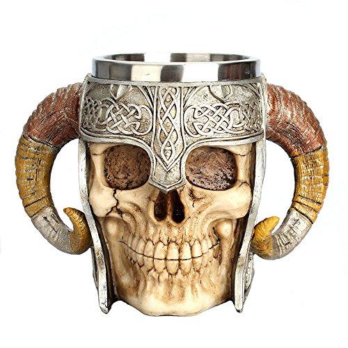 Beer Mug Mug, Stainless Steel 3D Wolf King Viking Skull Resin Beer Mug Coffee Mug Tea Mug Halloween Bar Beverage Gift Drinkware(550ml)