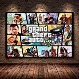 Grand Theft Auto V Game Poster GTA 5 Canvas Art Print Painting Wall Pictures para la habitación Decoración del hogar Decoración de la Pared Sin Marco 50x70cm (canvas-1296)