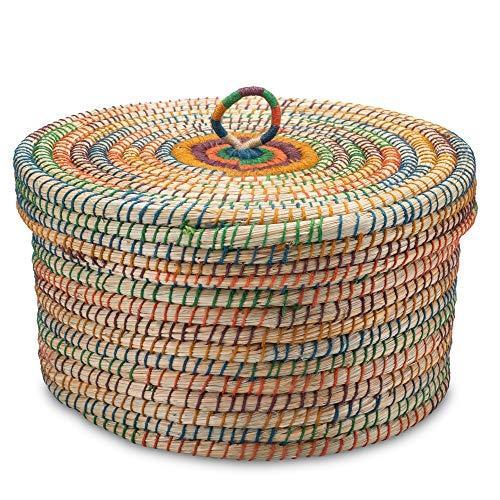 Gruener Handel - Kollektion Dhaka - Aufbewahrungskorb mit Deckel - Handarbeit - Fair Trade (Ø 40cm)